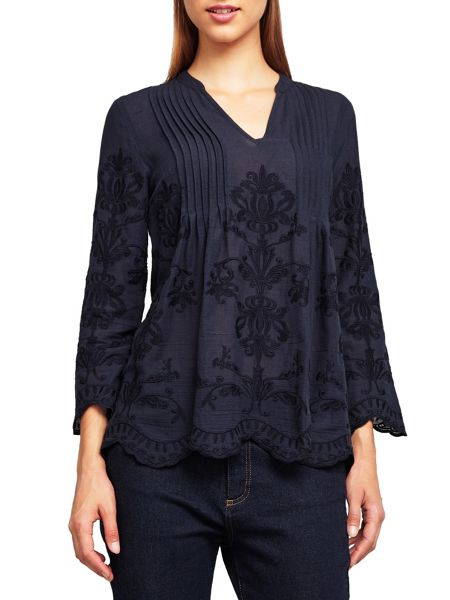 East Embroidered Pintuck Top