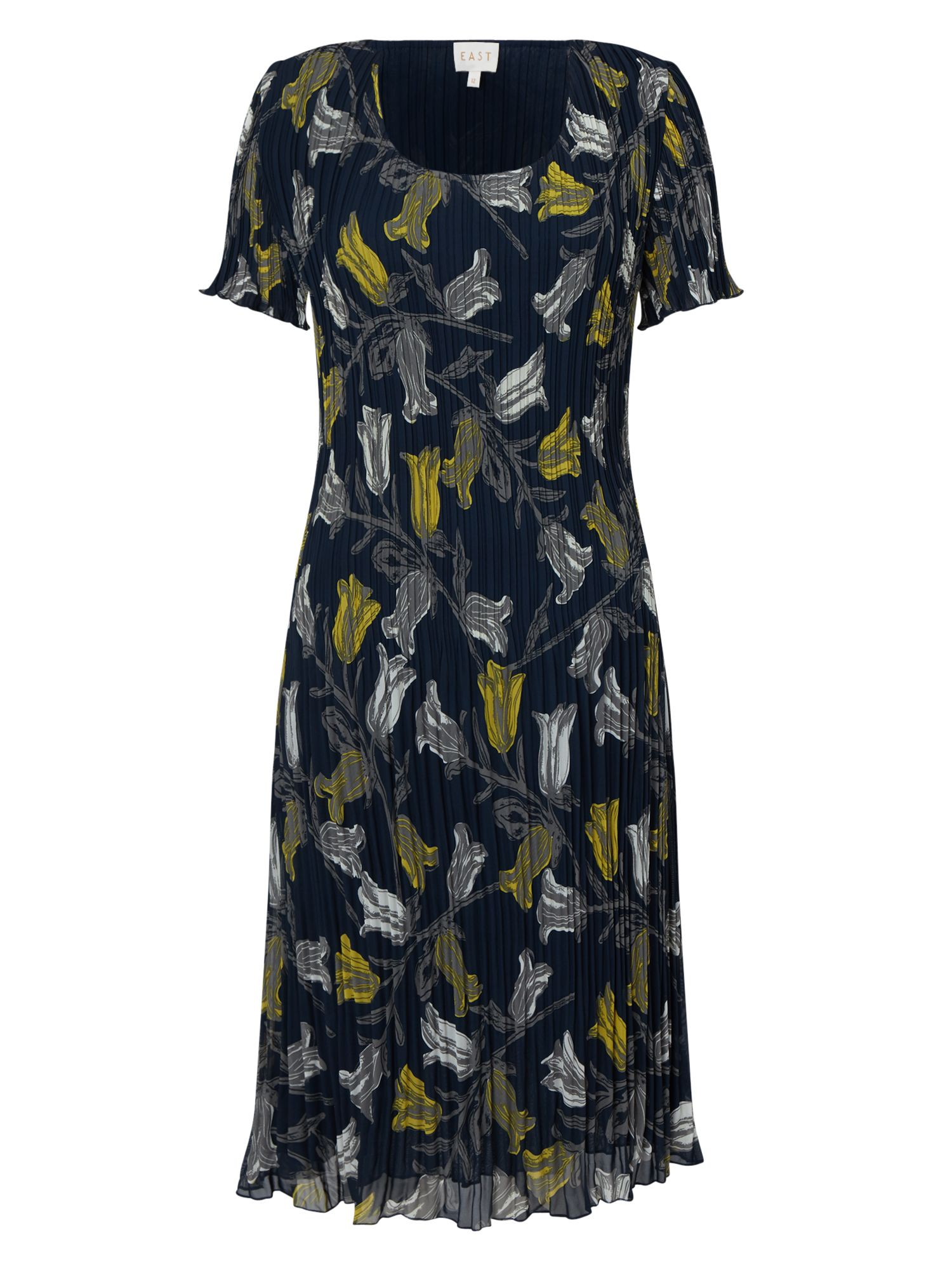 East Tulip Print Pleated Dress Blue