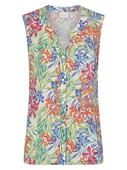Linen Aloha Print Sleeveless Shirt