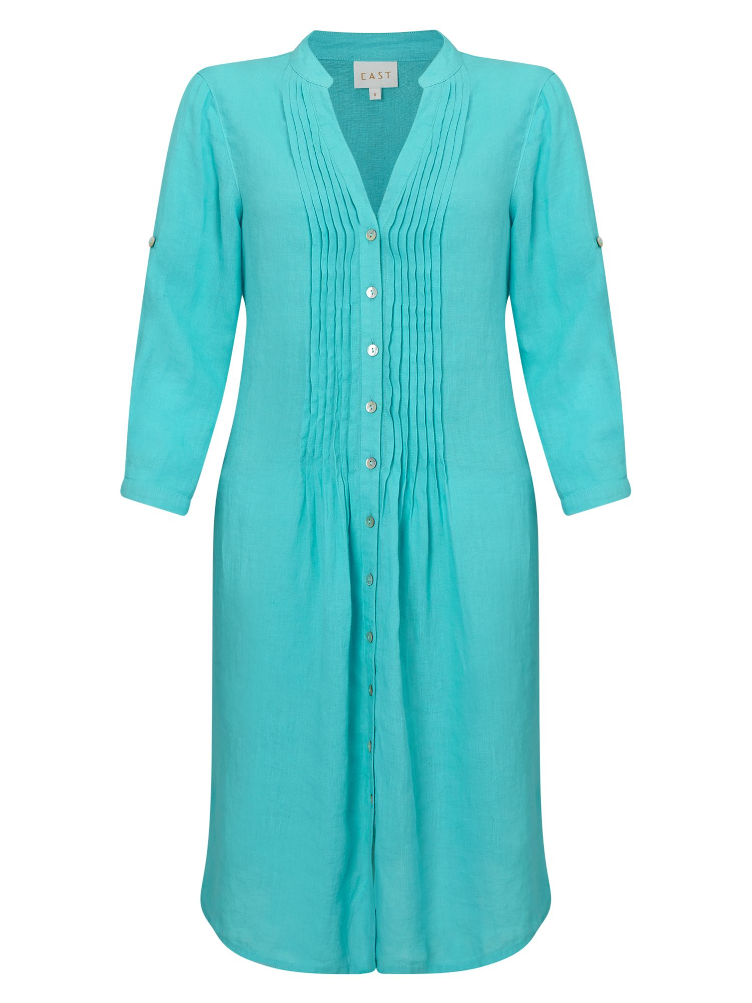 East Linen Pintuck Dress, Blue