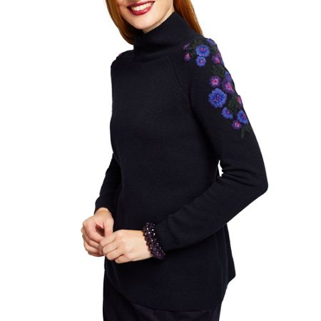 East Floral Emb Turtle Neck