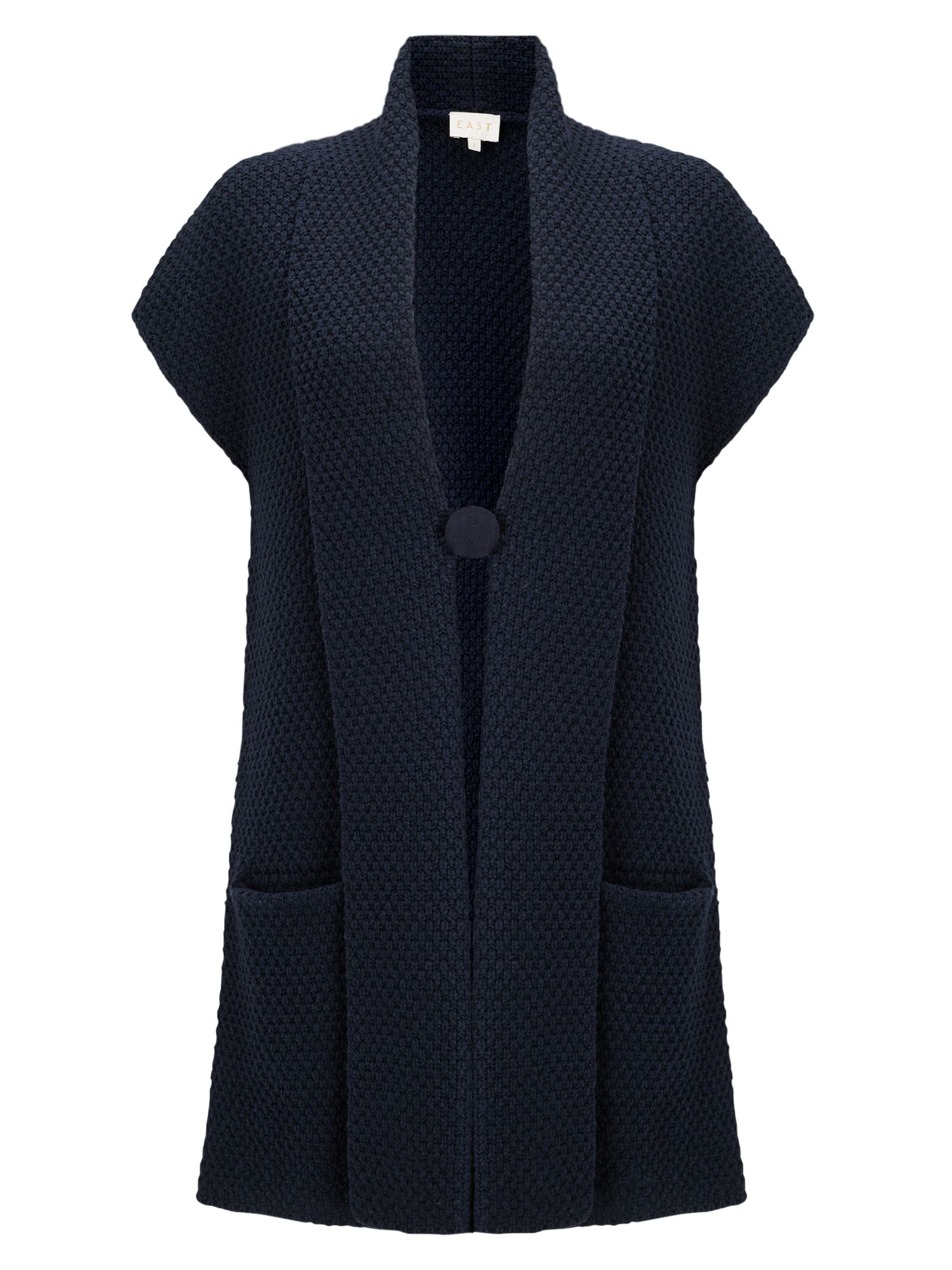 East Textured Knit Waistcoat, Blue
