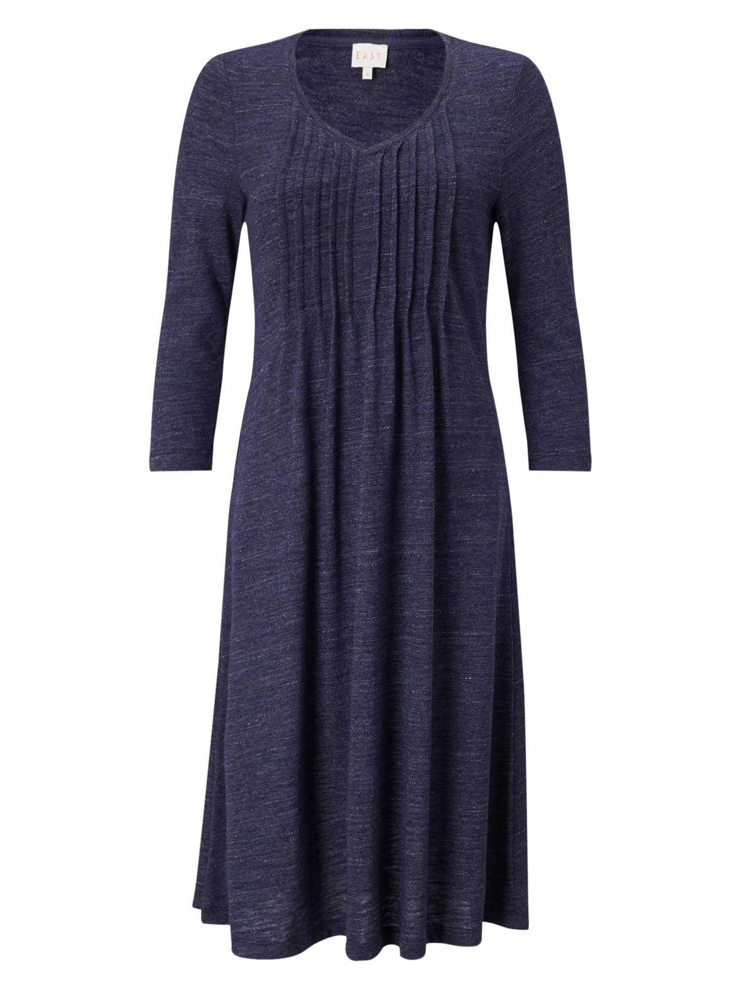East Pintuck Flared Jersey Dress, Blue