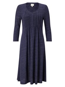East Pintuck Flared Jersey Dress