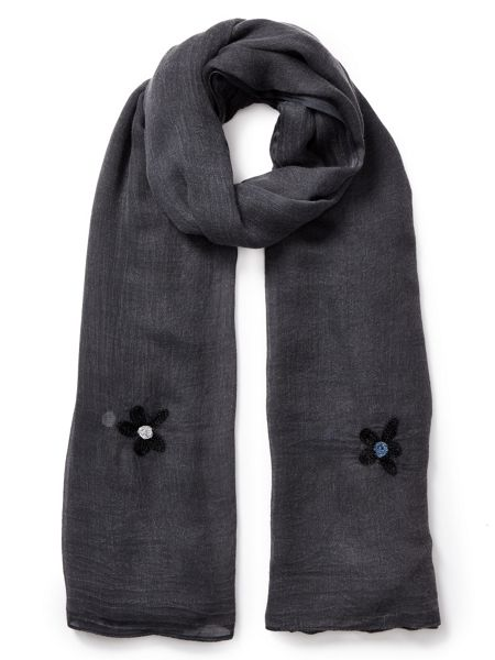 East Floral Embroidered Scarf
