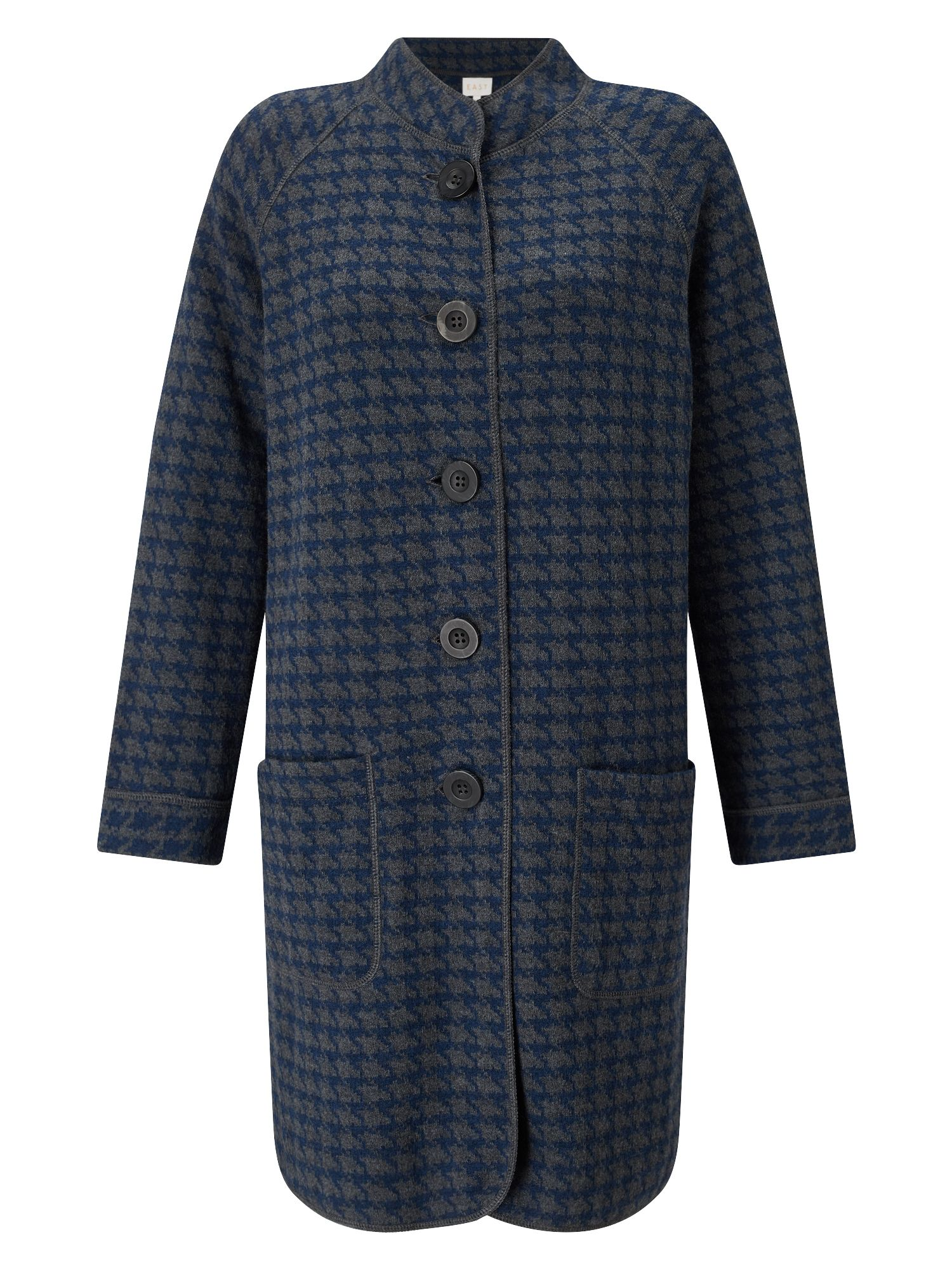 East Checked Hooded Knit Coat, Multi-Coloured