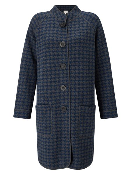 East Checked Hooded Knit Coat