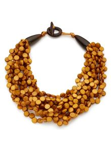 East Wood Disc Layer Necklace