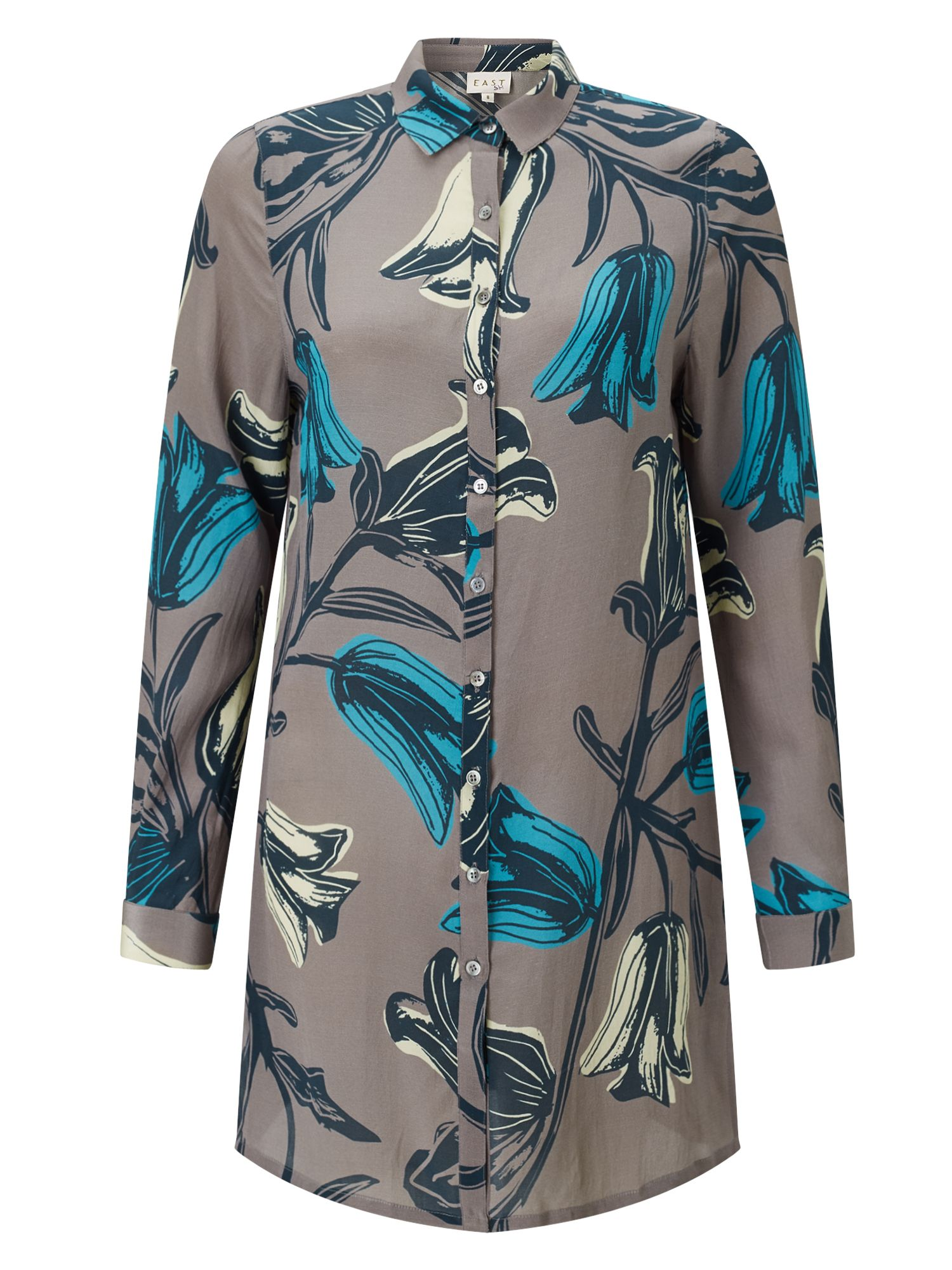 East Silk Tulip Print Oversize Shirt, Grey