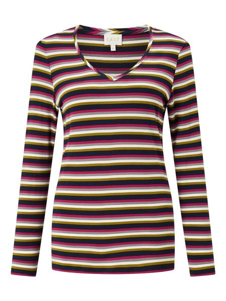 East Stripe Round Neck Top