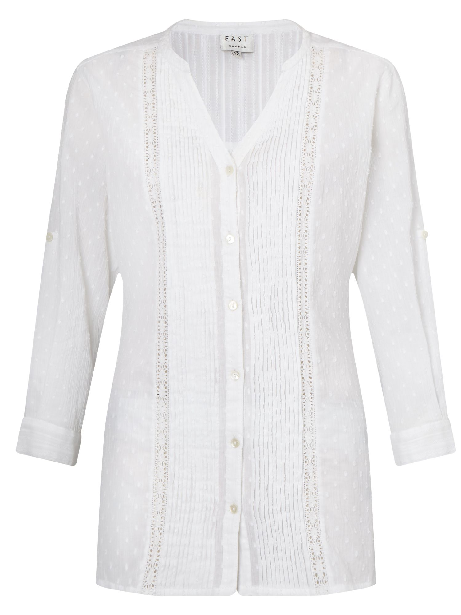 East Mixed Pintuck Dobby Shirt, White