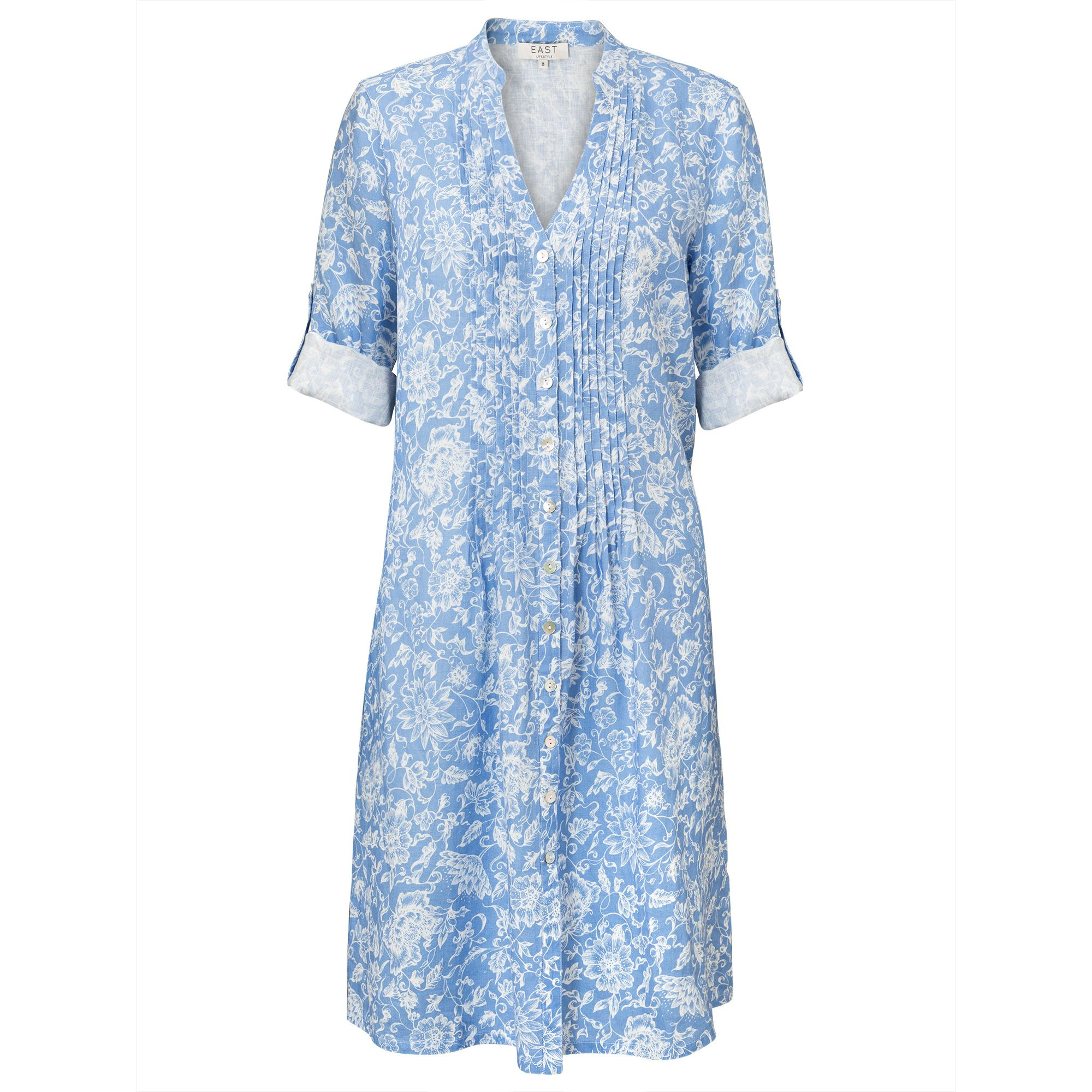 East Linen Antoinette Pintuck Dress Blue