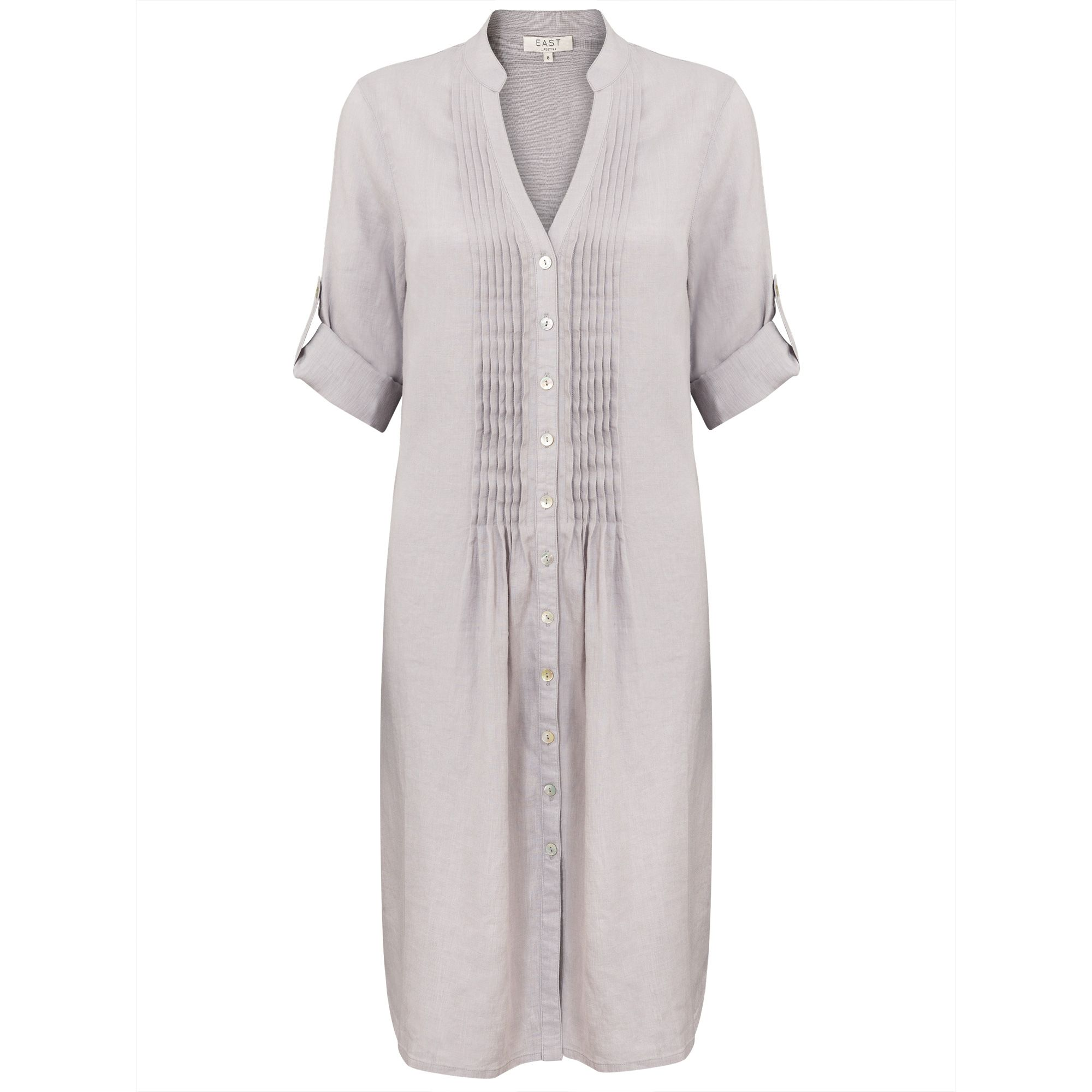 East Linen Pintuck Dress, Cream