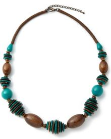 East Olivia Wood Disc & Bead Necklace