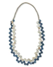 East Side Wood Disc Double Layer Necklace