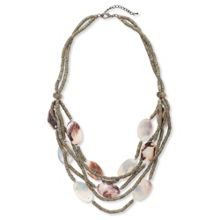 East Shell & Bead Multi Strand Necklace