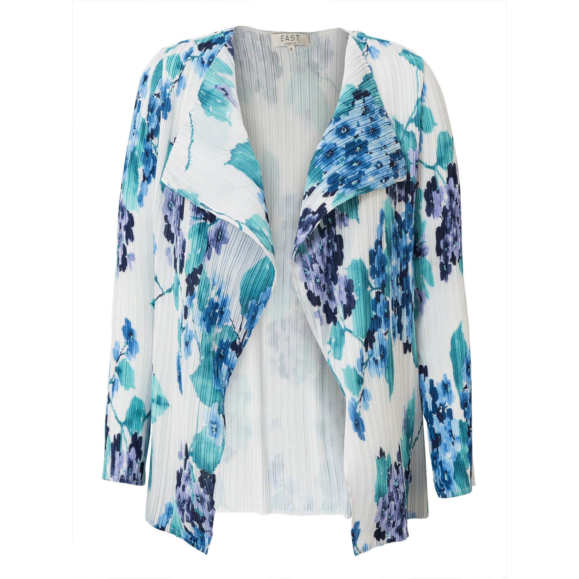East Hydrangea Print Pleat Jacket, Blue