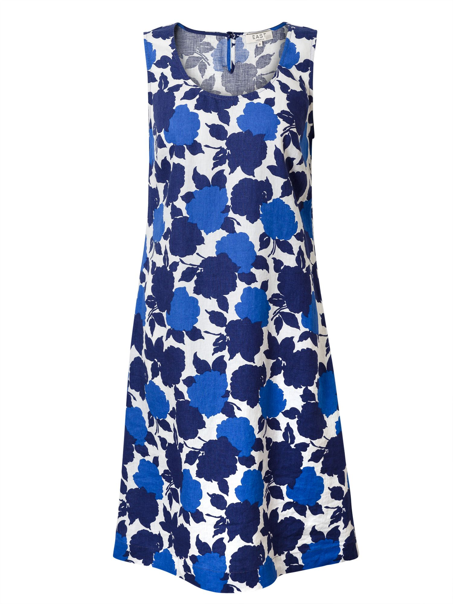 East Linen Sicily Print Dress, Blue