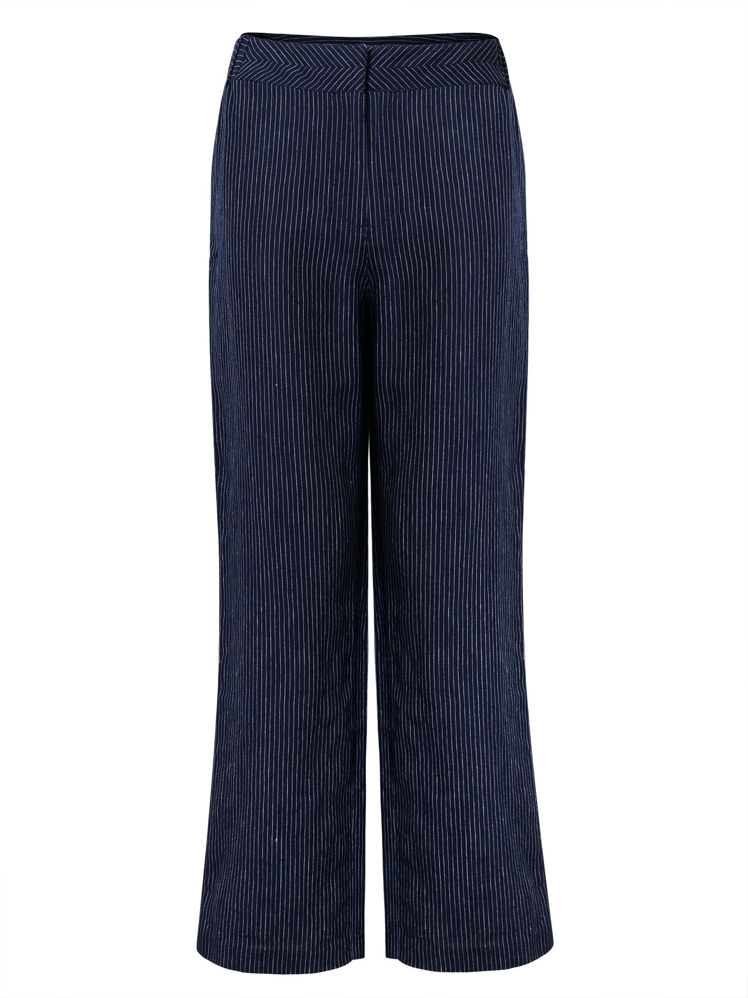 East Linen Stripe Trouser, Blue