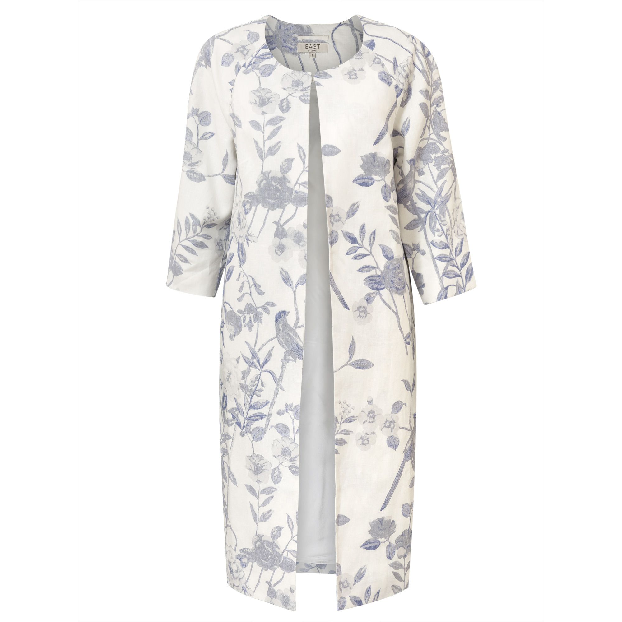 East Linen Delphine Print Coat, White