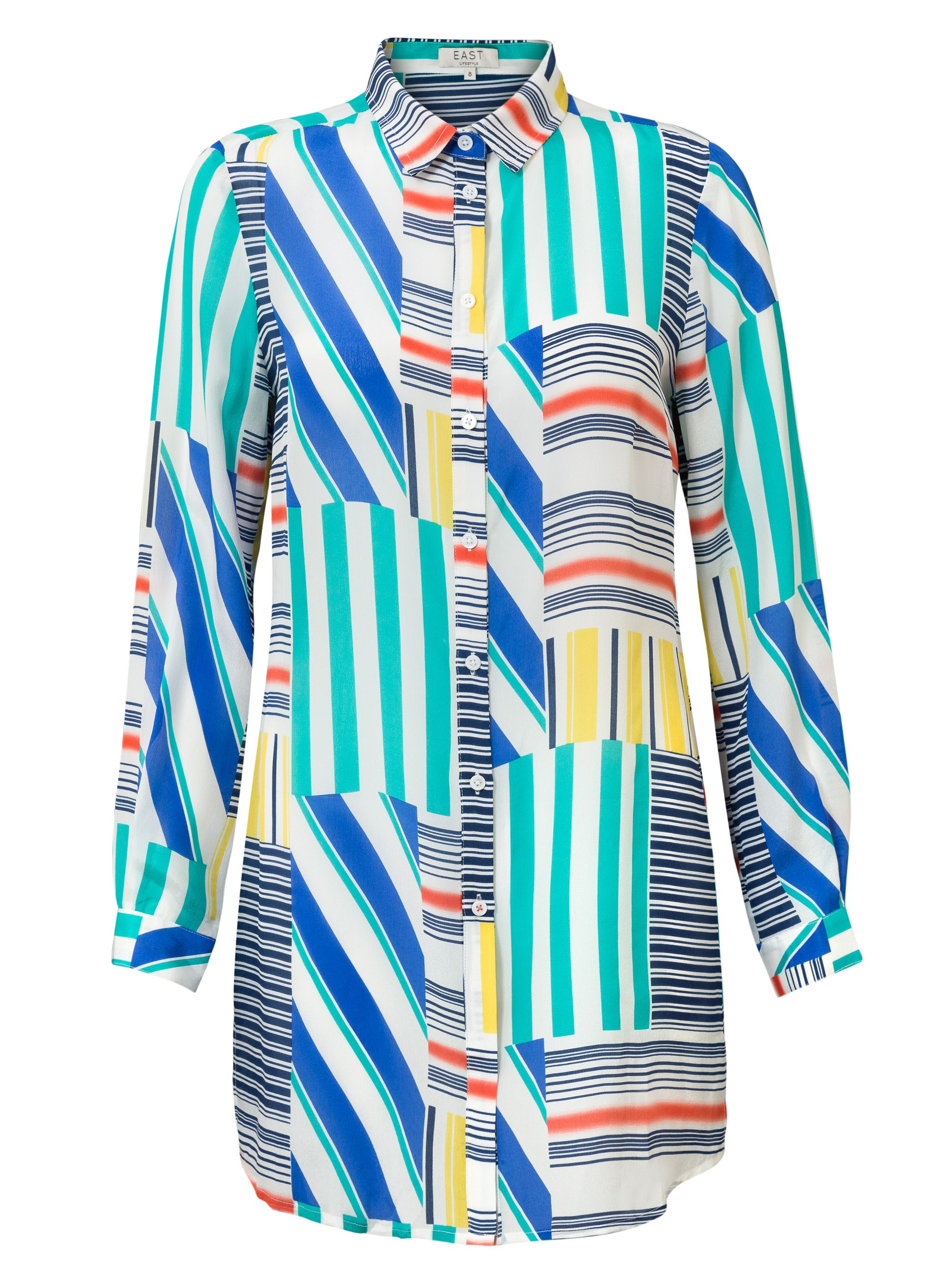 East Silk Martina Print Shirt, Multi-Coloured