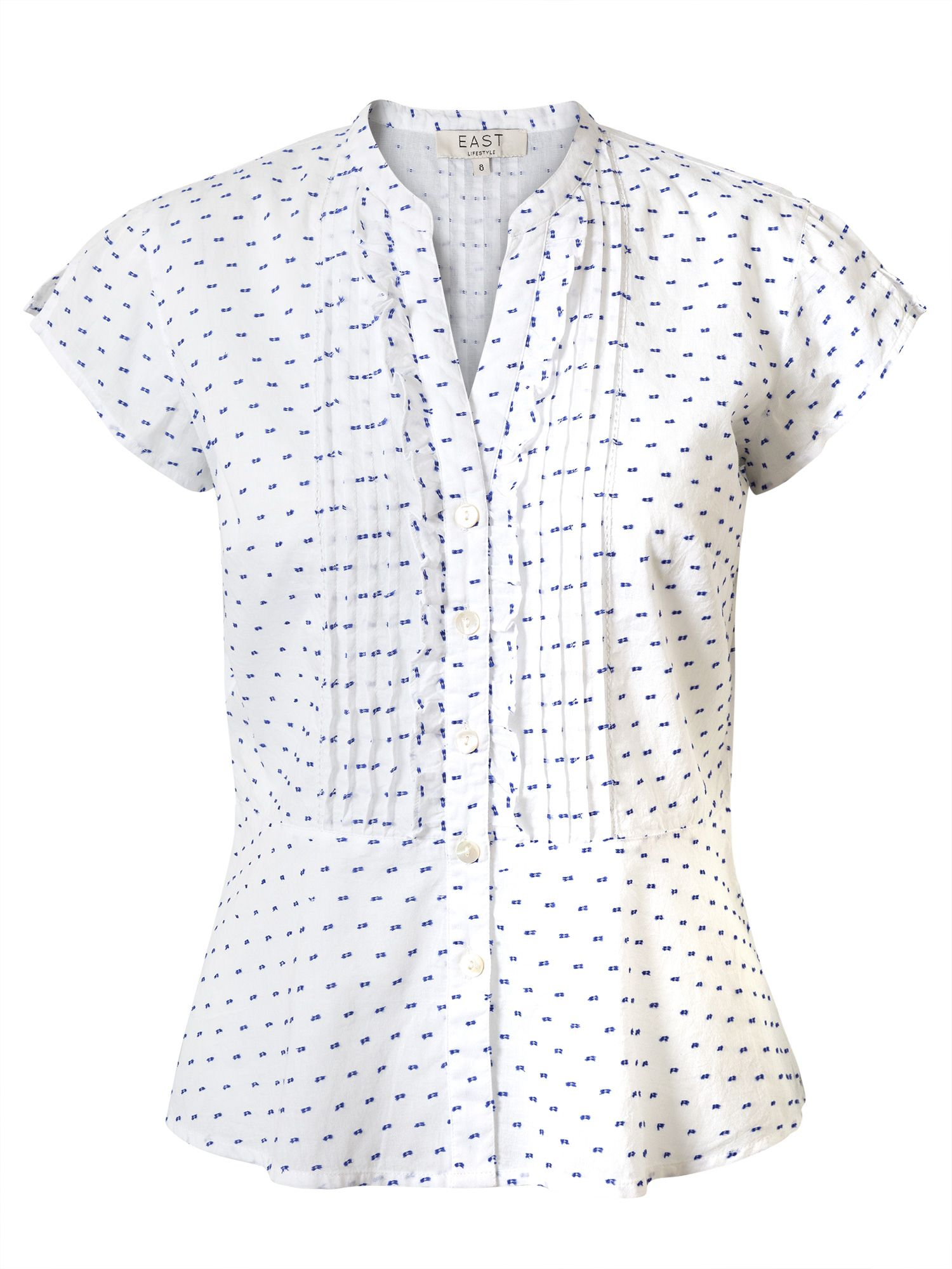 East POLKA DOT DOBBY SHIRT, White