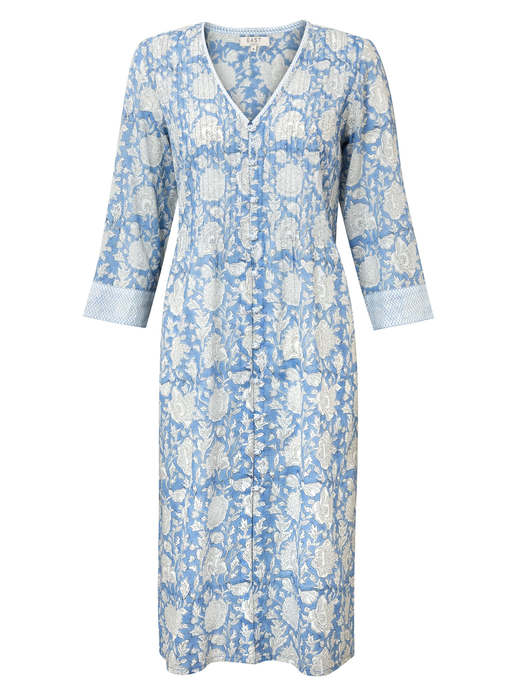 East Jaya Print Pintuck Dress, Blue