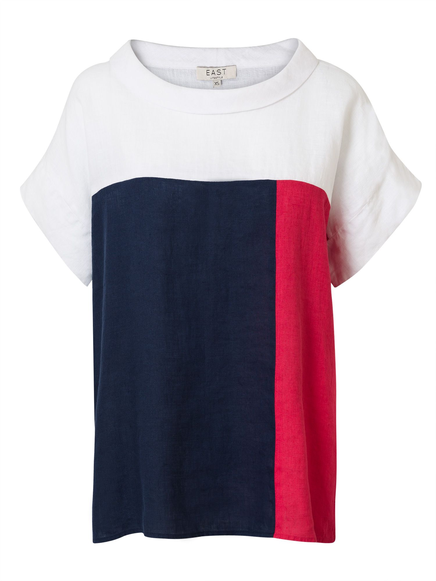 East Colourblock Bardot Top, Red