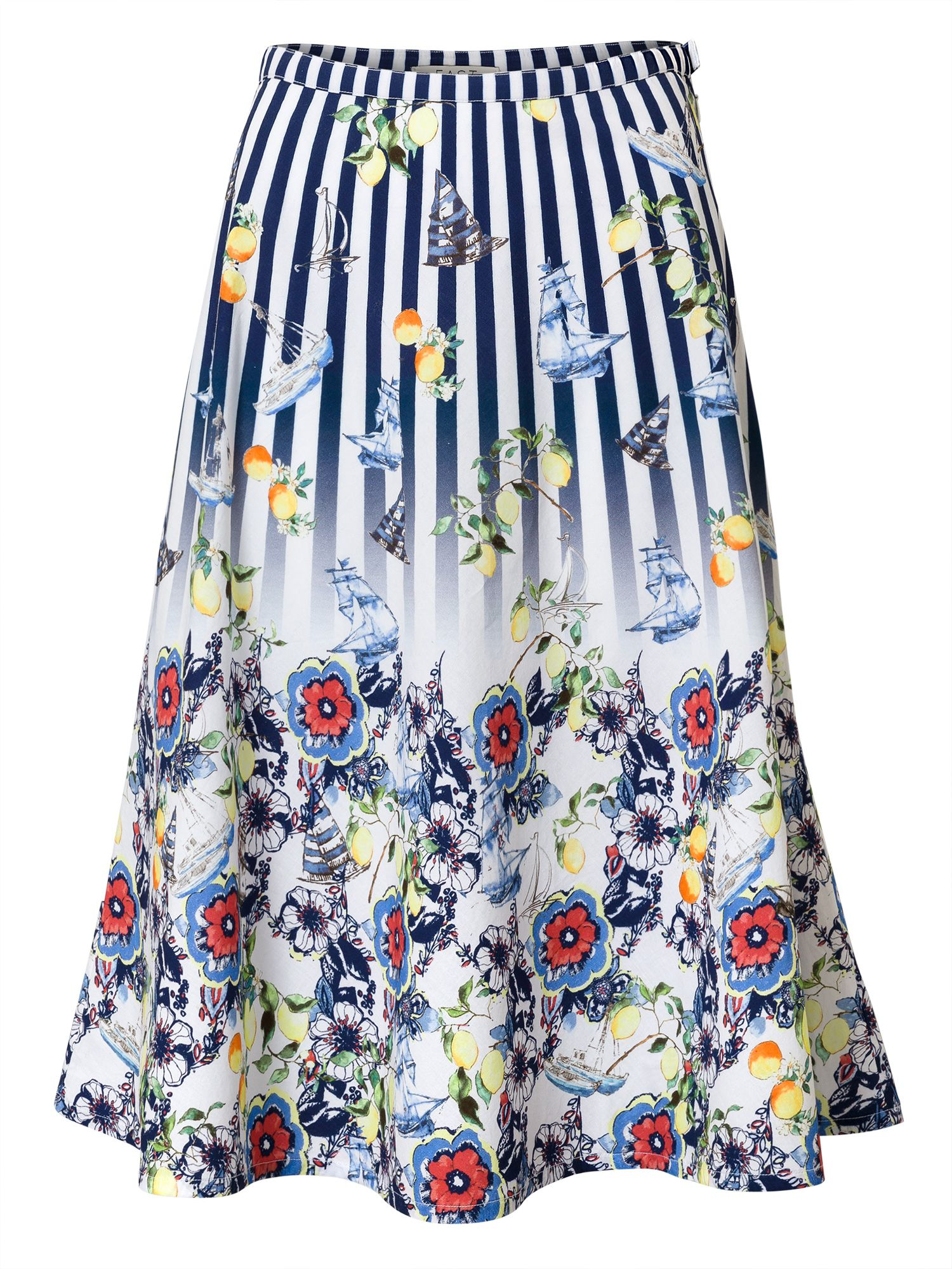 East Fabiola Print Skirt, Blue