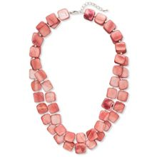 East Double Strand Square Bead Necklace