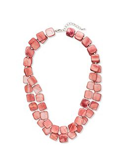 Double Strand Square Bead Necklace