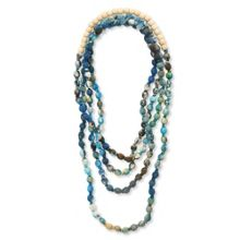 East Fabric Print & Wood Bead Necklace