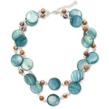 East Glass Circle And Bead Necklace