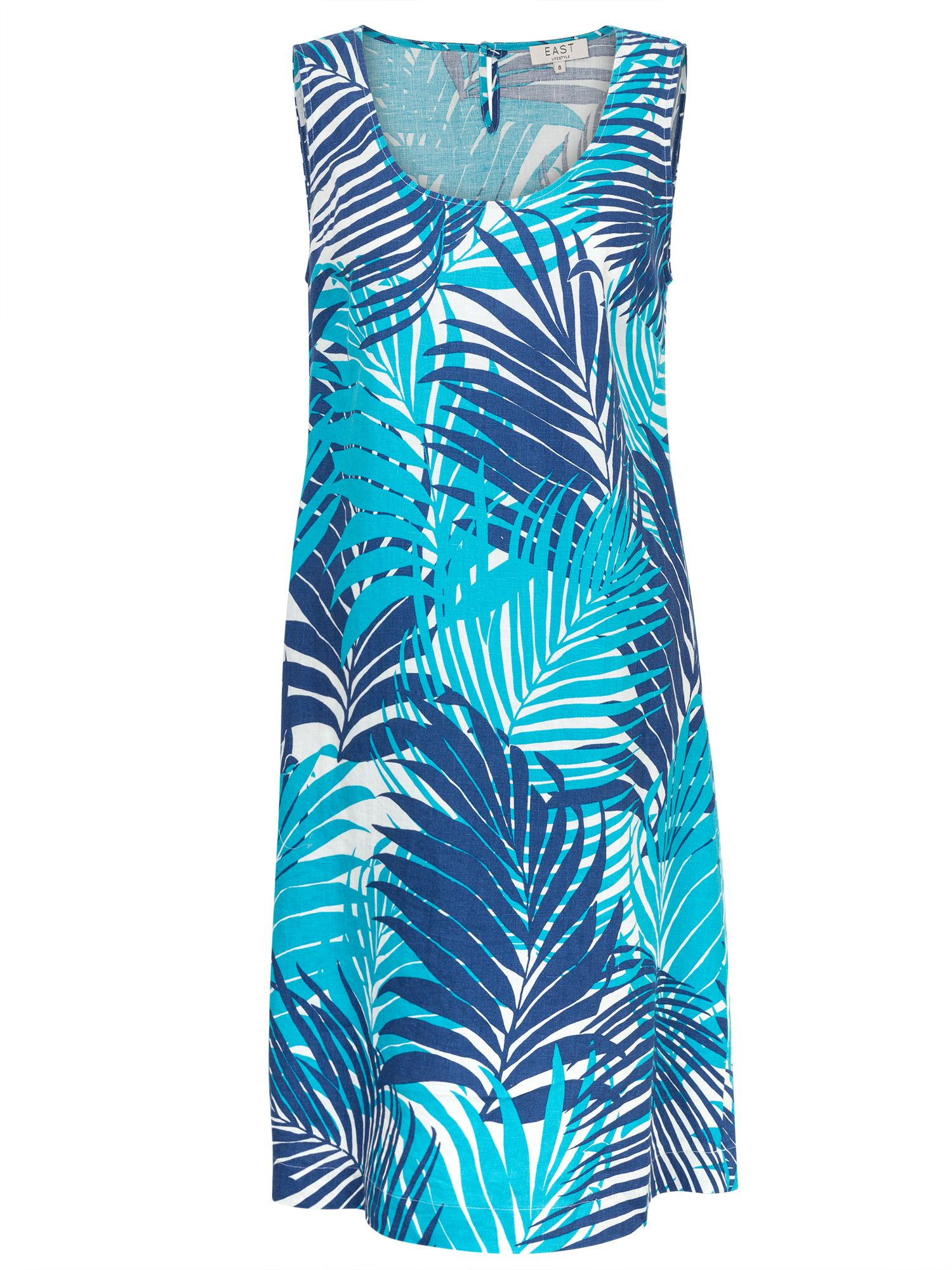East Linen Palm Print Dress, Blue