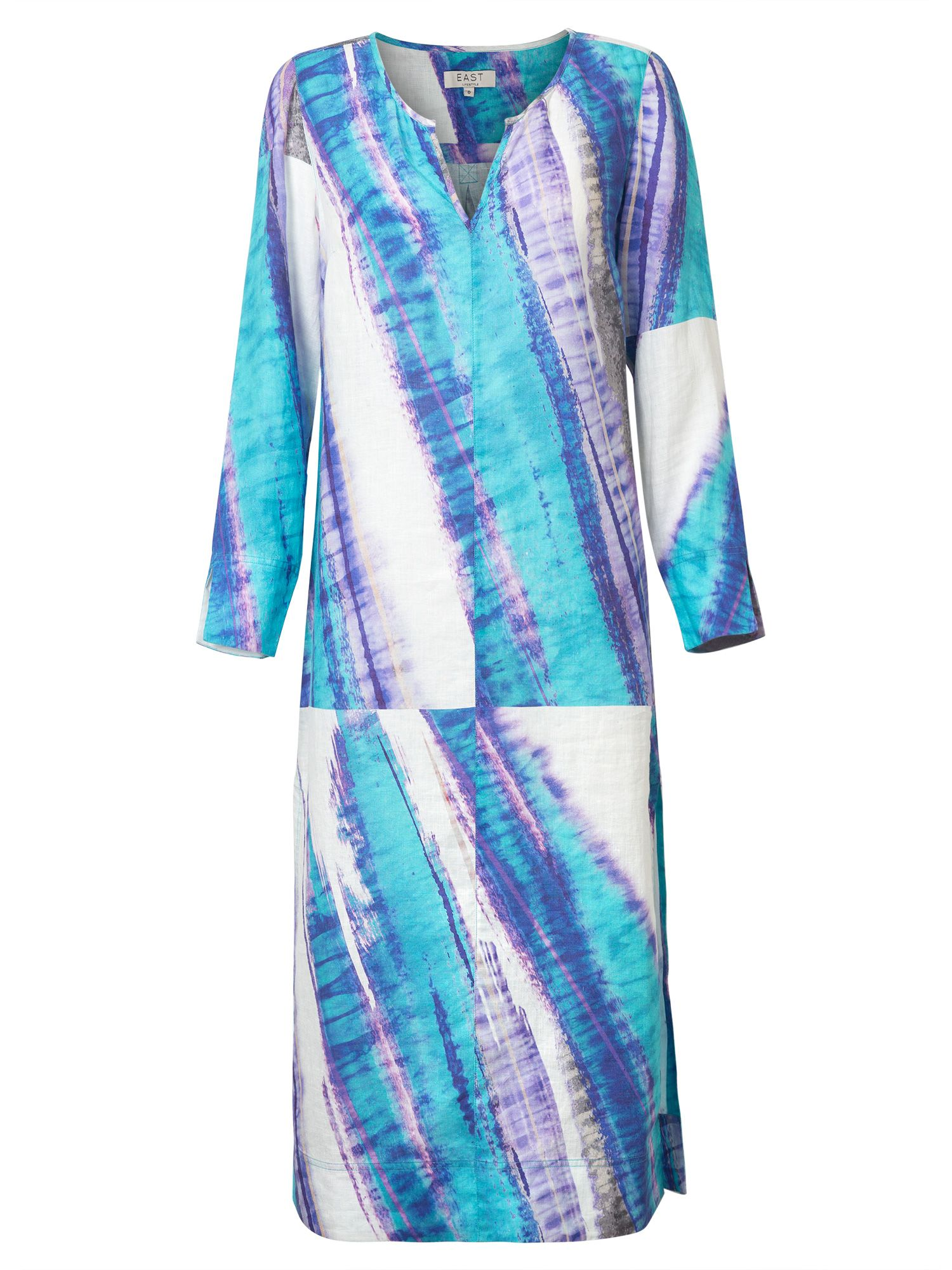 East Linen Abstract Print Kaftan, Blue