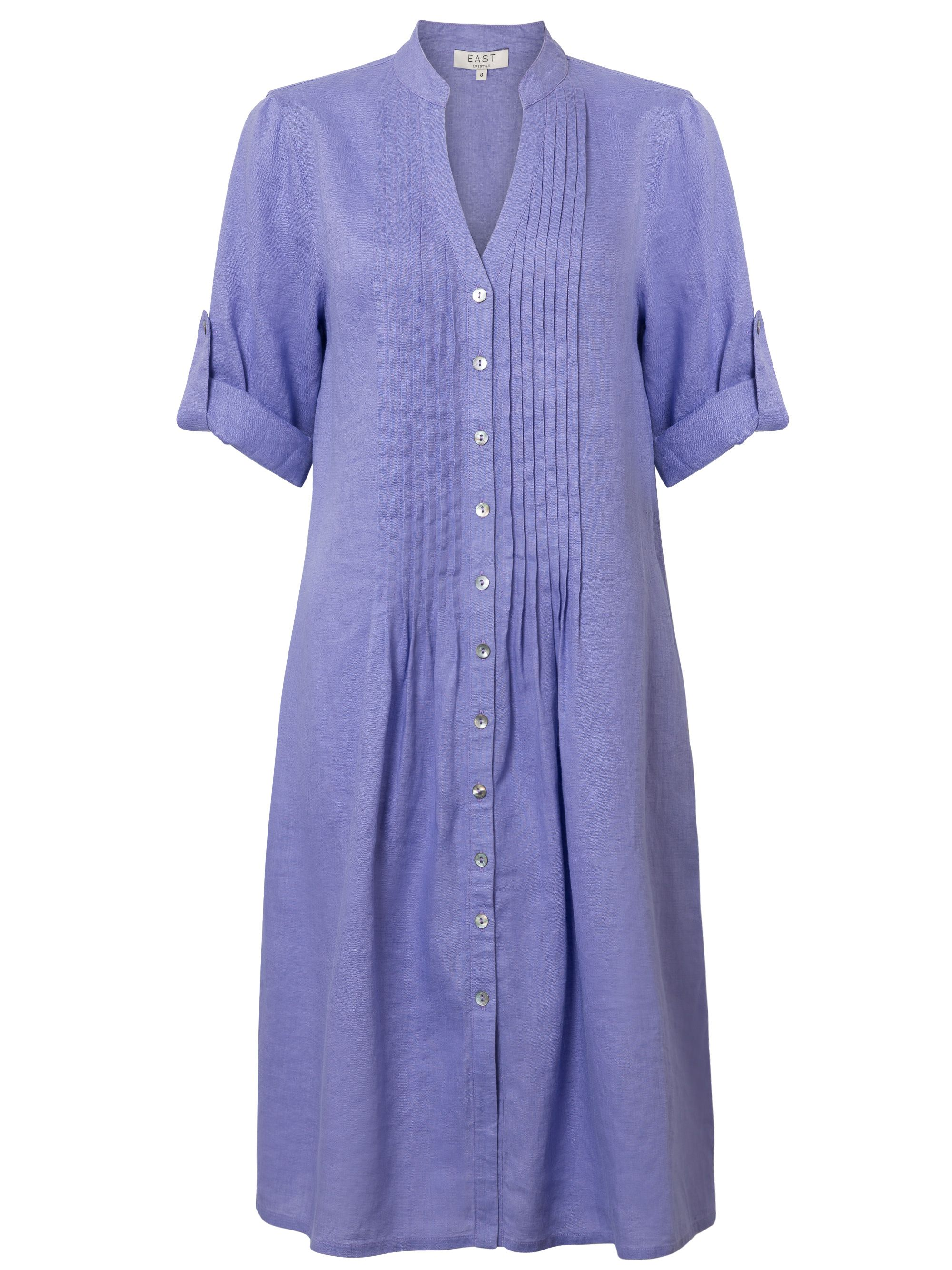 East Linen Pintuck Dress, Purple