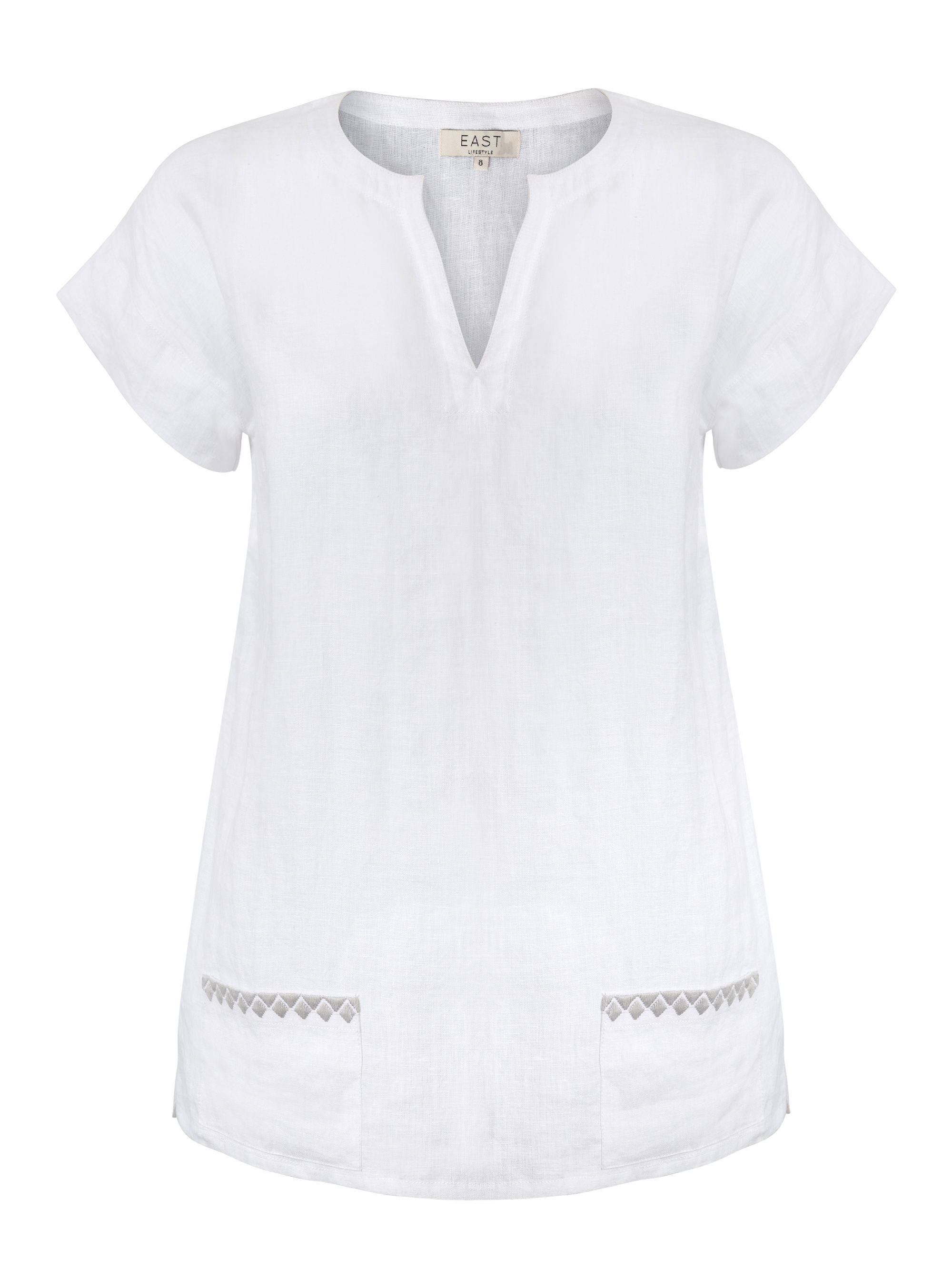 East Linen Embroidered Detail Top, Limestone