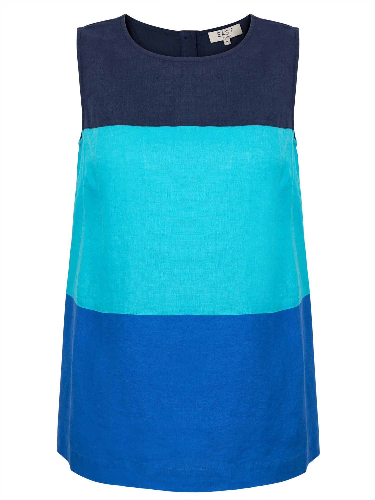 East Linen Colourblock Sleeveless Top, Blue