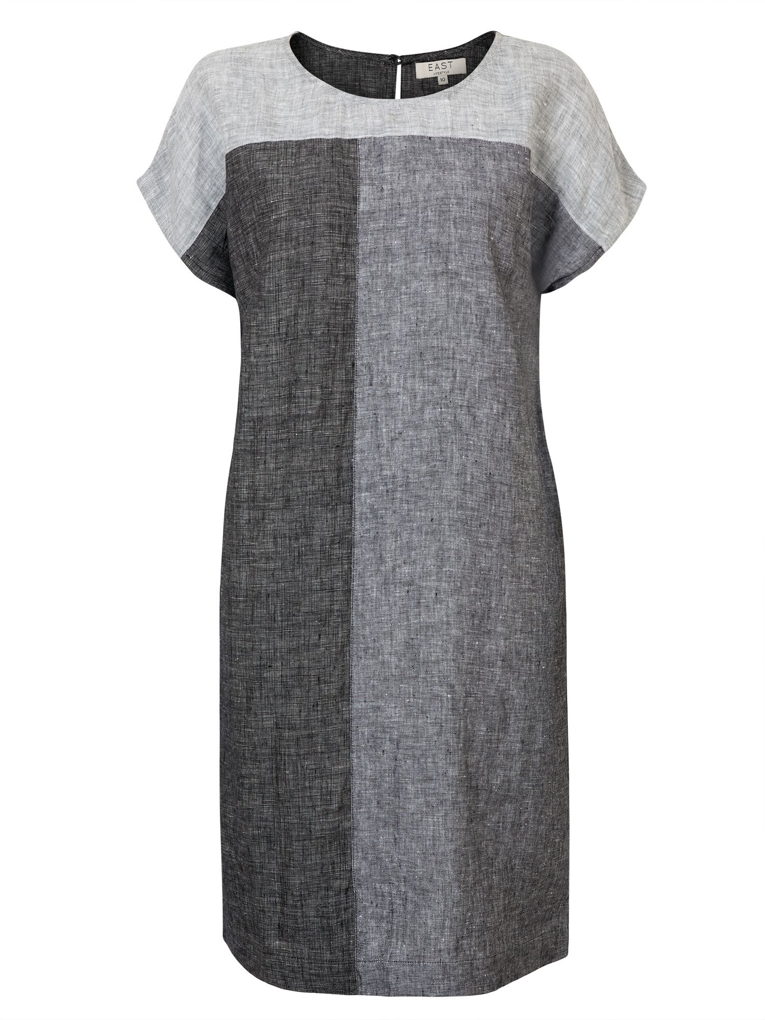 East Linen X Dye Colour Block Dress, Grey