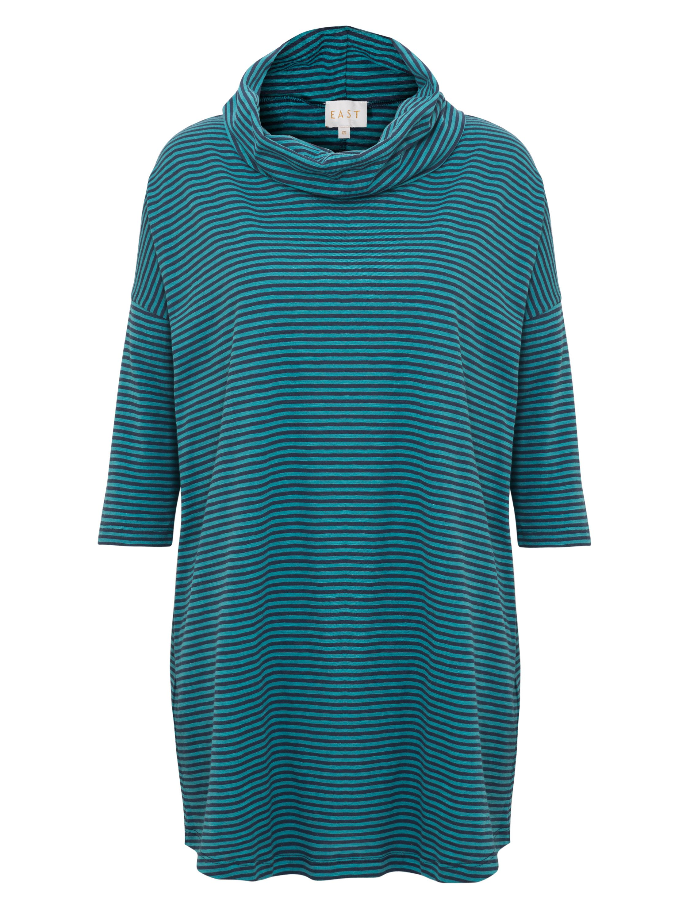 East Stripe Cowl Neck Top, Green