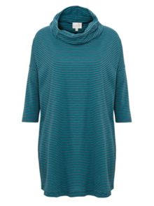 East Stripe Cowl Neck Top