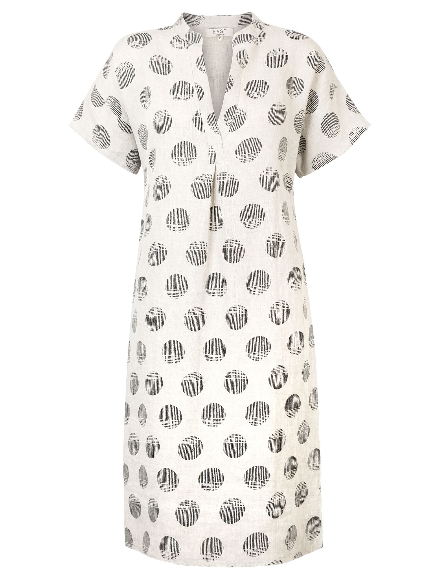 East Linen Organic Spot Dress, White