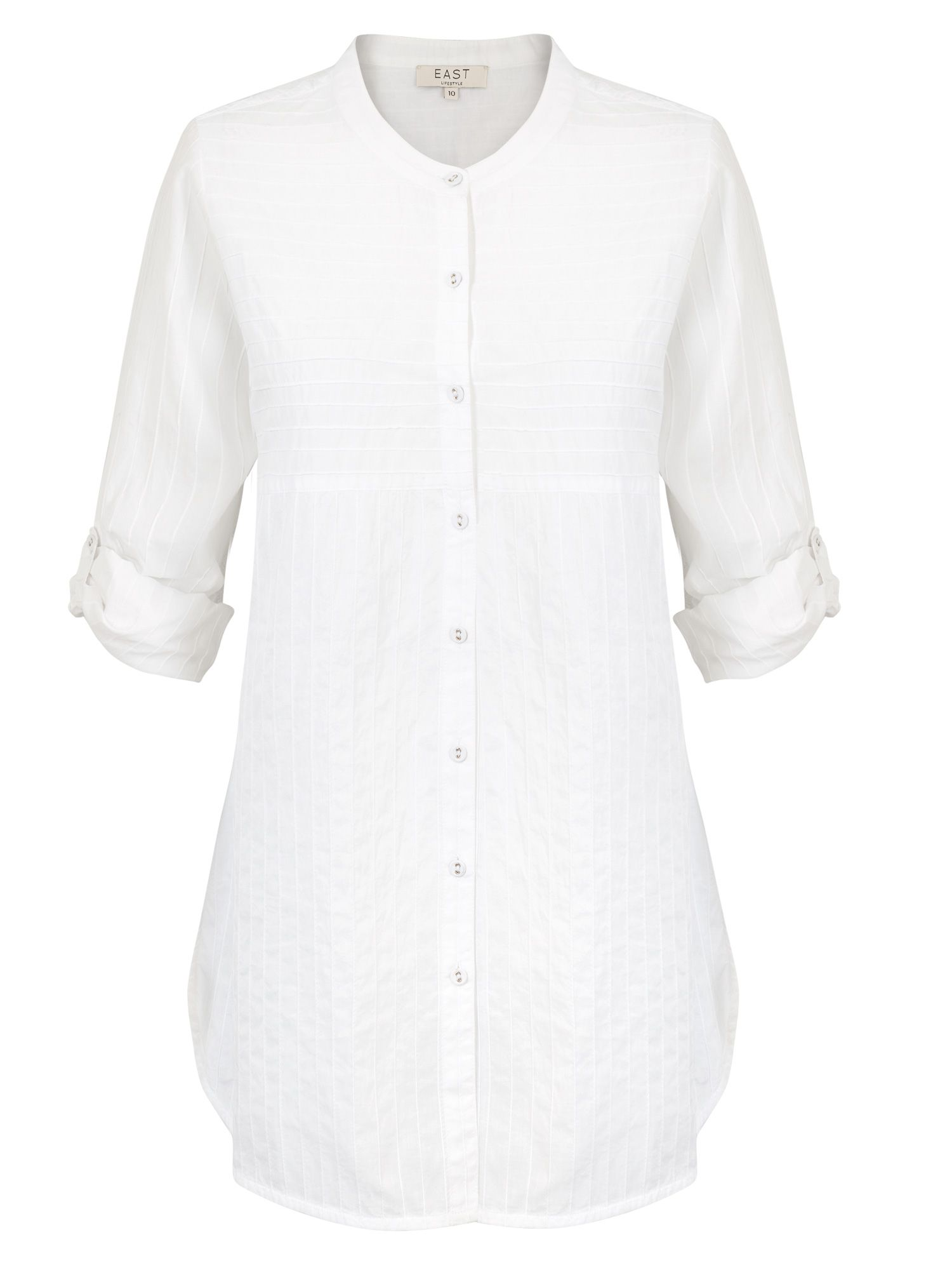 East Pintuck Detail Long Shirt, White