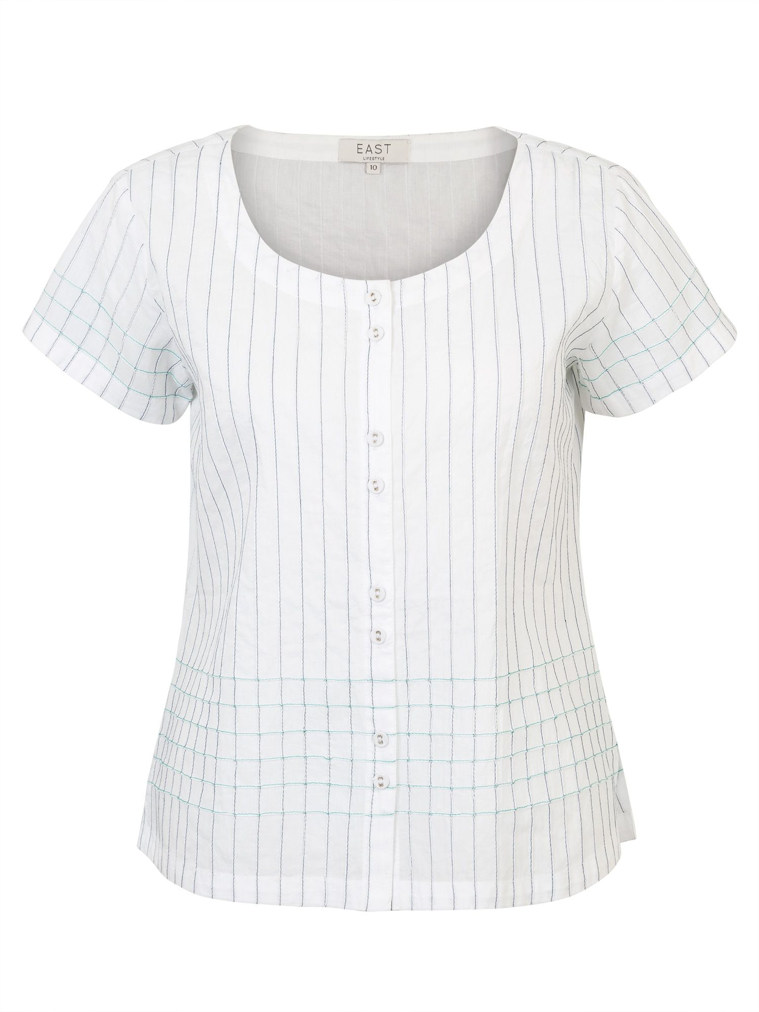 East Contrast Stitch Pintuck Top, White