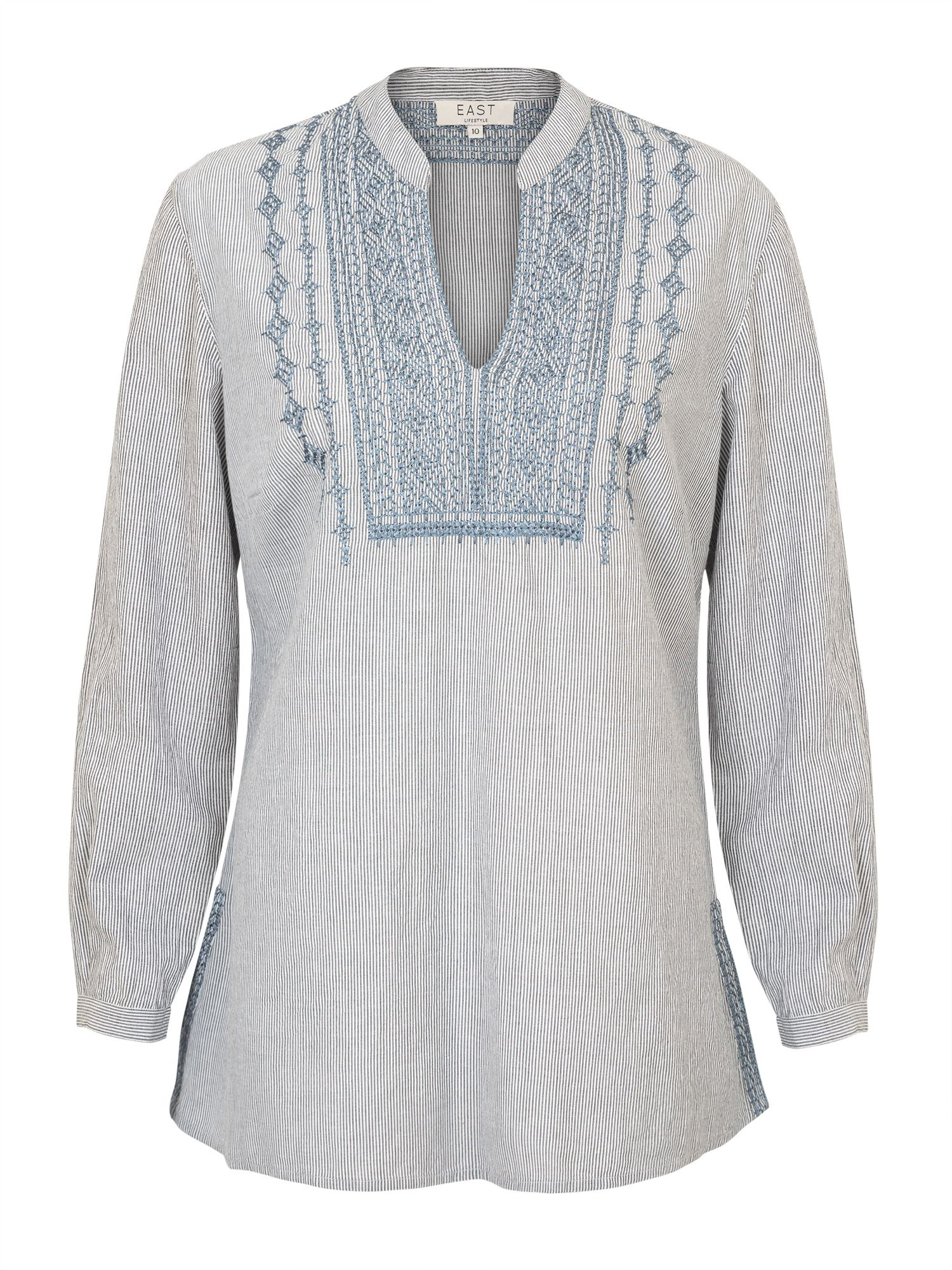 East Stripe Embroidered Shirt, White