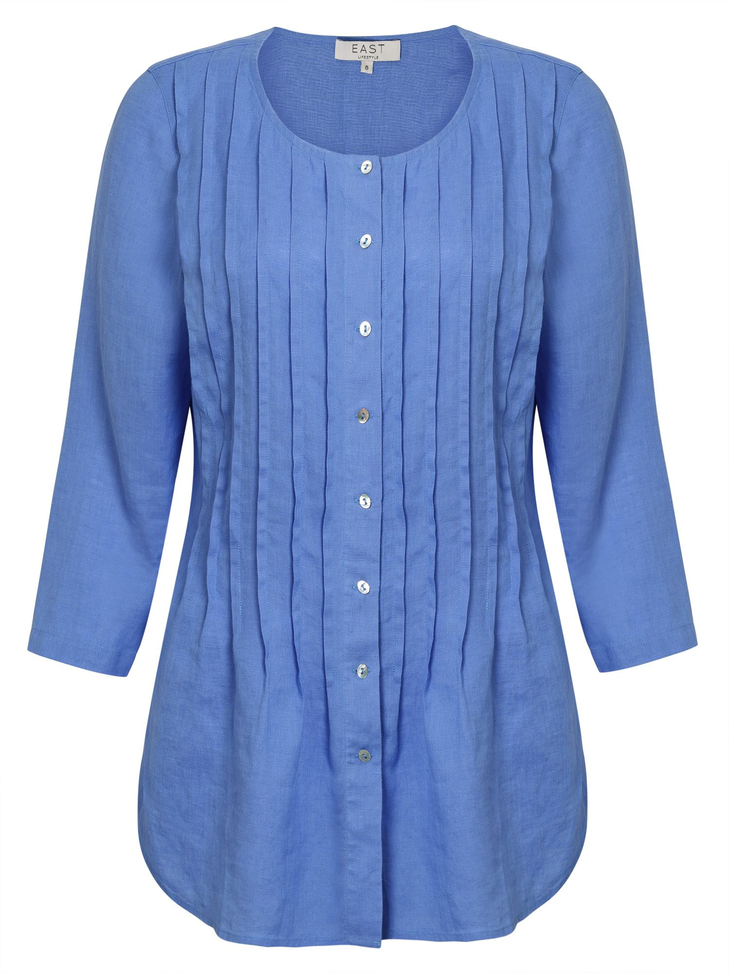 East Pintuck Linen Shirt, Blue