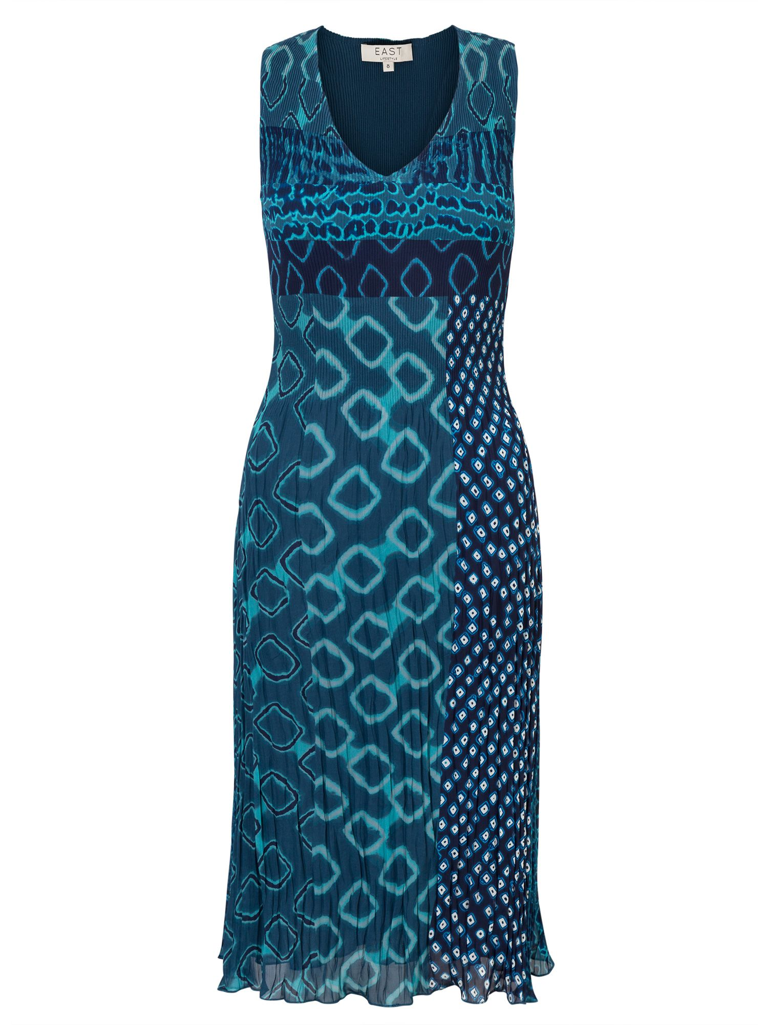 East Paloma Print Pleat Dress, Aqua