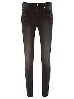 Phoenix Washed Black Skinny Biker Jean