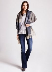 Mint Velvet Grey Fringe Hem Knit