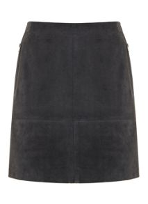 Granite Suede Zip Skirt